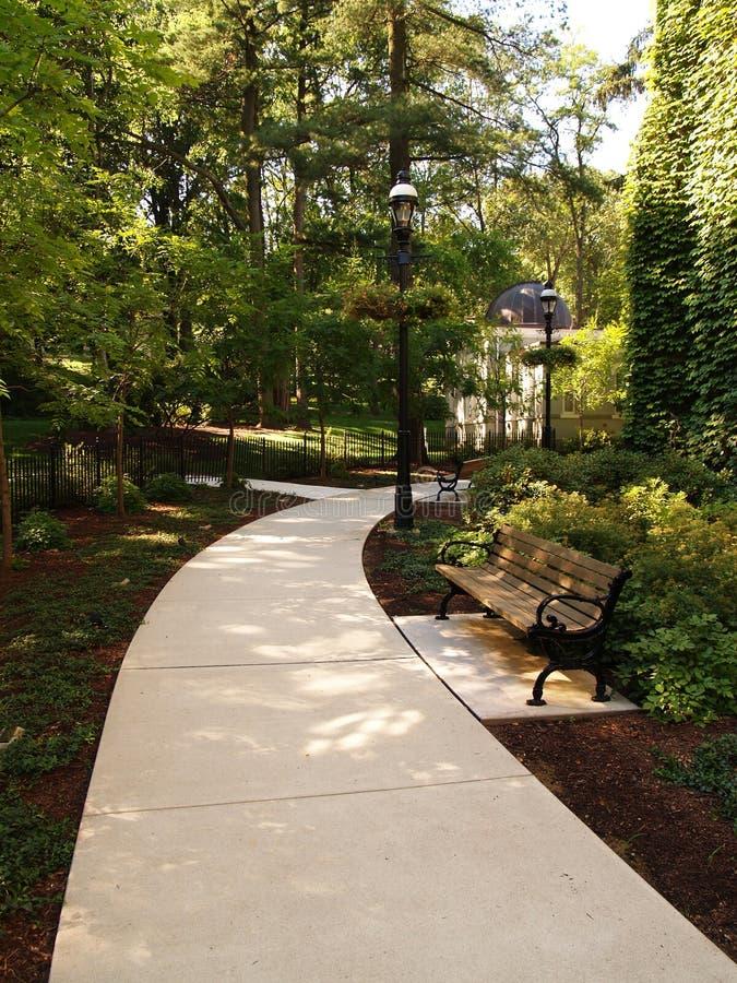 cieniste ławki parku przejścia. zdjęcie stock