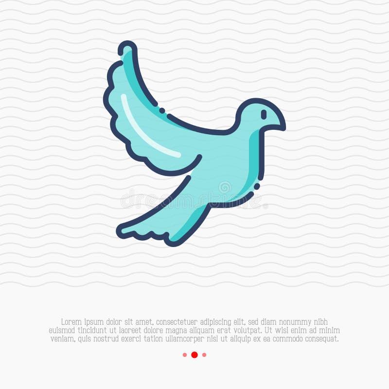 Cienka kreskowa ikona latanie gołąbka, znak miłość ilustracja wektor