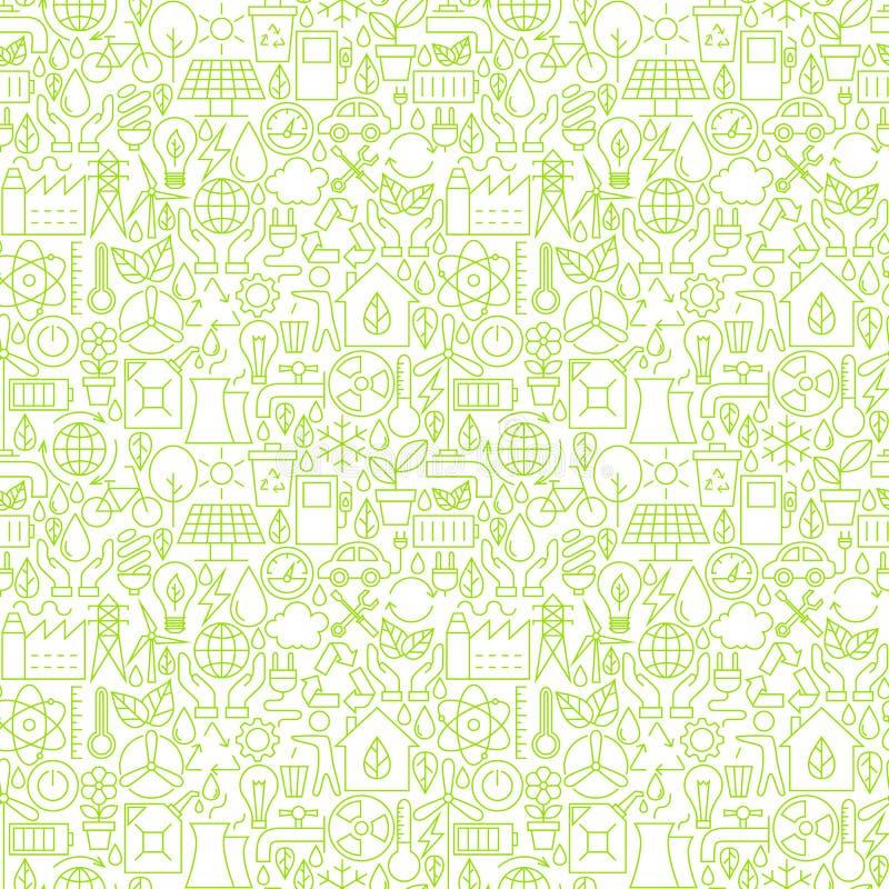 Cienka linia Iść Zielonej ekologii Biały Bezszwowy wzór ilustracja wektor