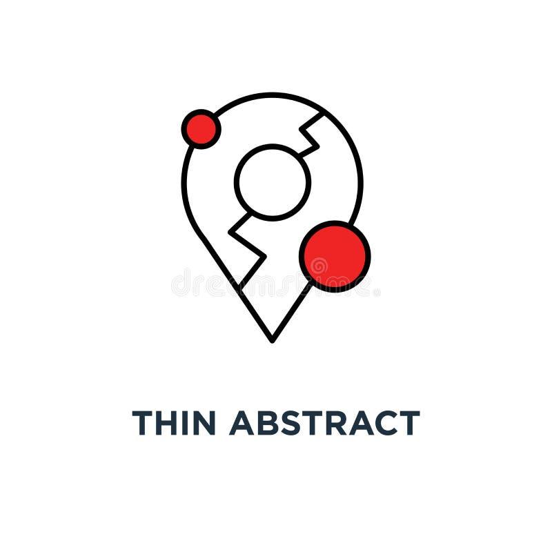 cienki abstrakcjonistyczny geolocation jak mapy szpilki ikona, symbolu liniowego trendu logotypu graficznej sztuki gatunku ui now ilustracji