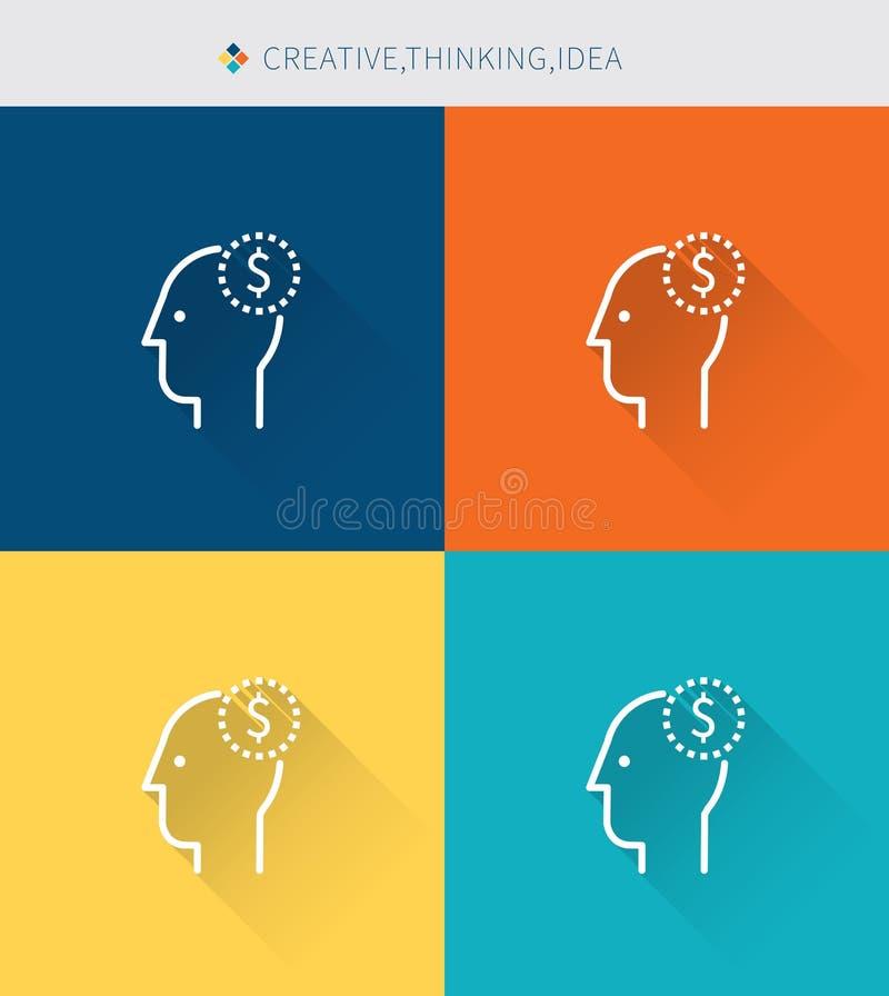 Cienki cienieje kreskowe ikony ustawiać creative&thinking i pomysł, nowożytny prosty styl royalty ilustracja