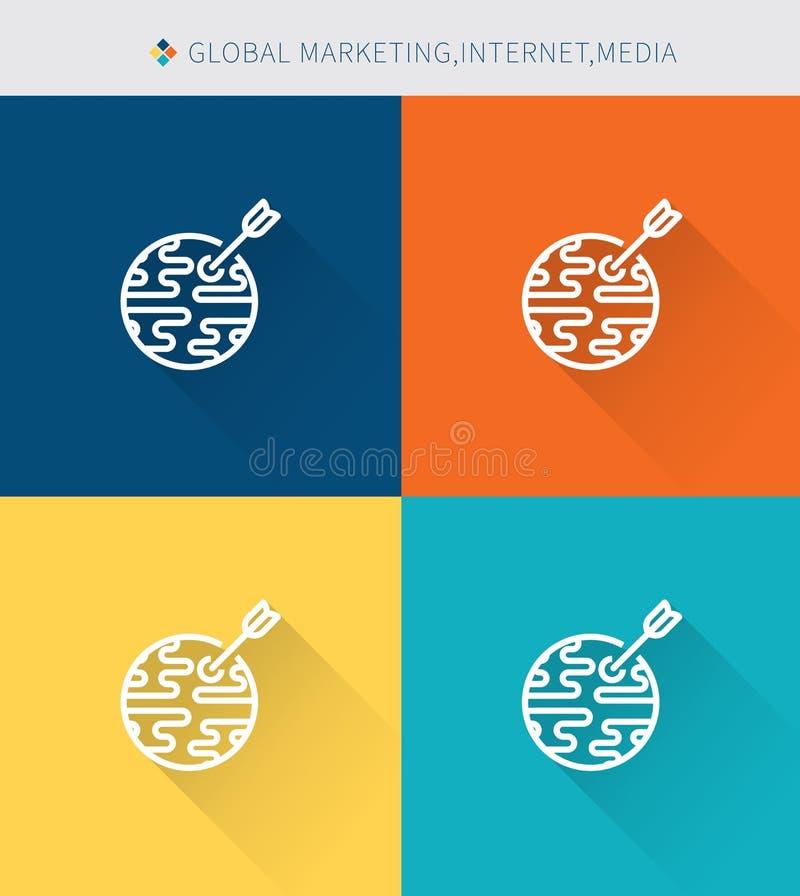 Cienki cienieje kreskowe ikony ustawiać globalni marketing∫ernet środki, nowożytny prosty styl ilustracja wektor