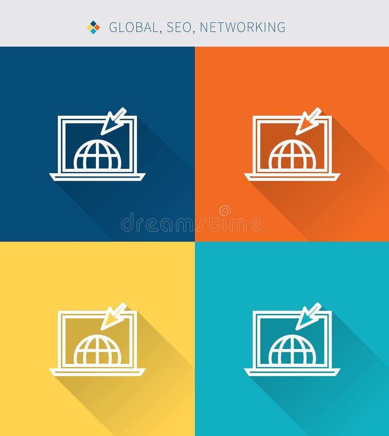 Cienki cienieje kreskowe ikony ustawiać globalny, seo & optymalizacja, nowożytny prosty styl! ilustracji