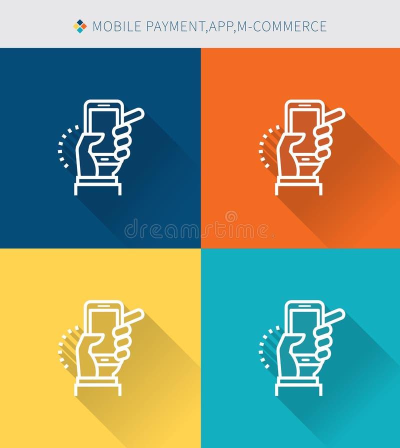Cienki cienieje kreskowe ikony ustawiać mobilna zapłata, app & handel, nowożytny prosty styl royalty ilustracja