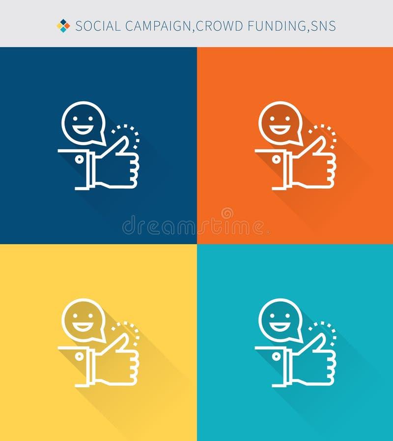 Cienki cienieje kreskowe ikony ustawiać ogólnospołeczny campaign&crowd finansowanie i sns, nowożytny prosty styl ilustracja wektor