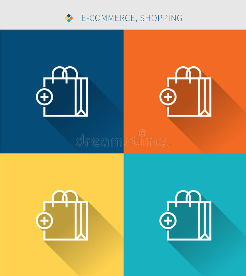 Cienki cienieje kreskowe ikony ustawiać zakupy & handel elektroniczny, nowożytny prosty styl ilustracji