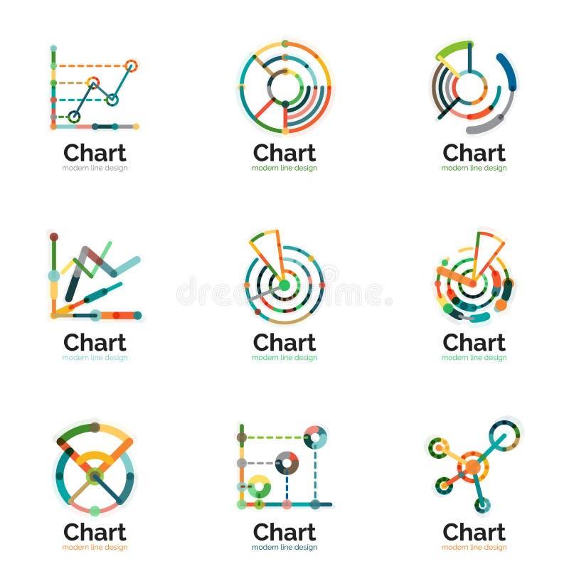 Cienki kreskowej mapy loga set Wykres ikon mieszkania nowożytny kolorowy styl ilustracji