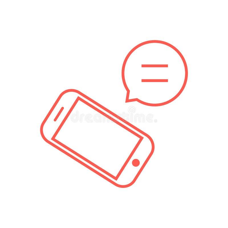 Cienki kreskowy czerwień telefon z mowa bąblem royalty ilustracja