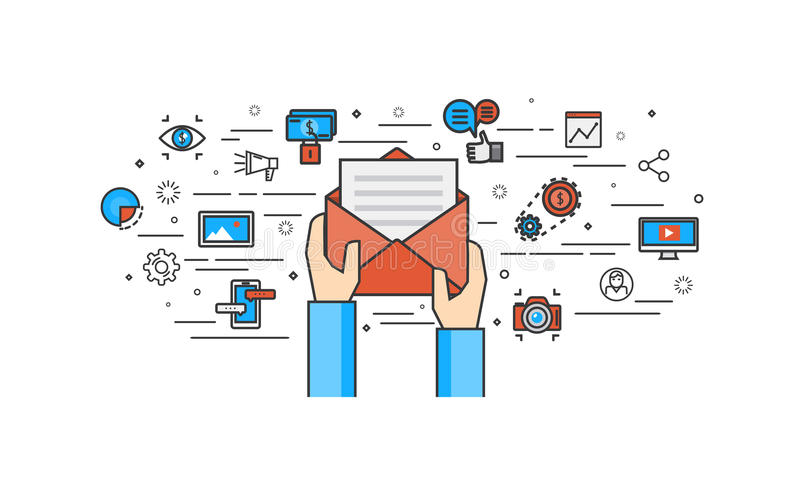 Cienki kreskowy płaski projekt emaila marketing ilustracji