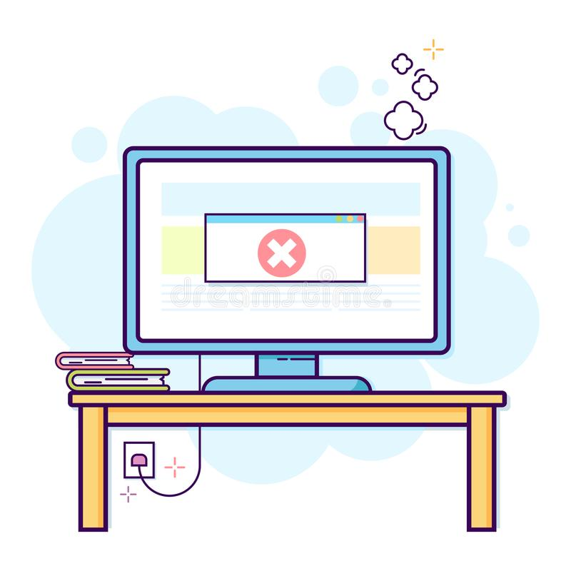 Cienki kreskowy płaski projekt nowożytny biurowy workspace z komputerem stacjonarnym z krytycznym błędem ilustracja wektor