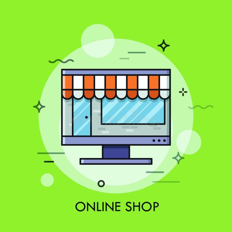 Cienki kreskowy płaski projekt online sklep, interneta zakupy ilustracja wektor
