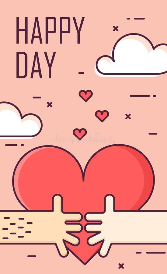 Cienki kreskowy płaski projekta kartka z pozdrowieniami dla walentynki ` s dnia Duży serce i dwa ręki na niebie szczęśliwy dzień  ilustracja wektor