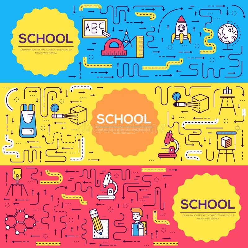Cienki kreskowy szkolnej klasy broszurki karty set Ucznie w sala lekcyjnej flyear, magazyny, plakat, książkowa pokrywa, sztandar  ilustracji