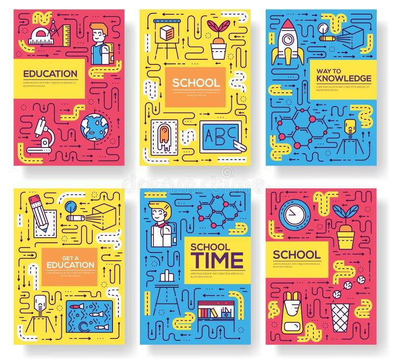 Cienki kreskowy szkolnej klasy broszurki karty set Ucznie w sala lekcyjnej flyear, magazyny, plakat, książkowa pokrywa, sztandar  ilustracja wektor