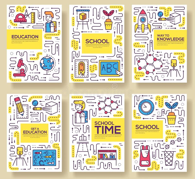 Cienki kreskowy szkolnej klasy broszurki karty set Ucznie w sala lekcyjnej flyear, magazyny, plakat, książkowa pokrywa, sztandar  royalty ilustracja