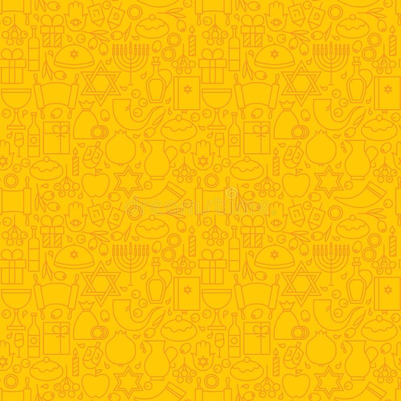 Cienki Kreskowy Żydowski Wakacyjny Szczęśliwy Hanukkah koloru żółtego Bezszwowy wzór