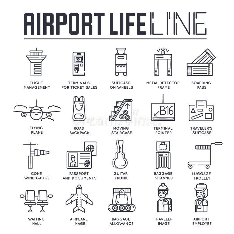Cienki linia personelu działanie, registratura bagaż w lotniskowym projekcie i ludzie i Rejestracyjny konturu vecto ilustracji