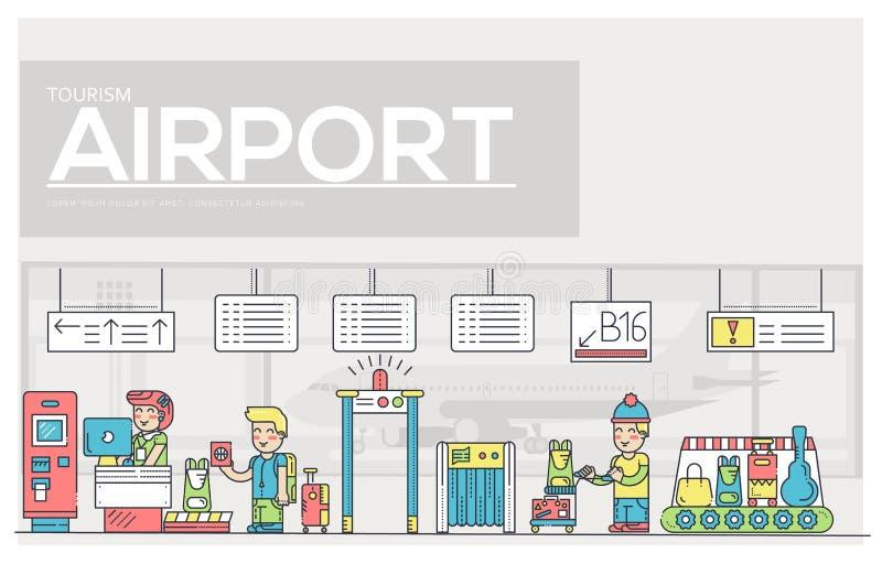 Cienki linia personelu działanie, registratura bagaż w lotniskowym projekcie i ludzie i Rejestracyjny konturu vecto royalty ilustracja