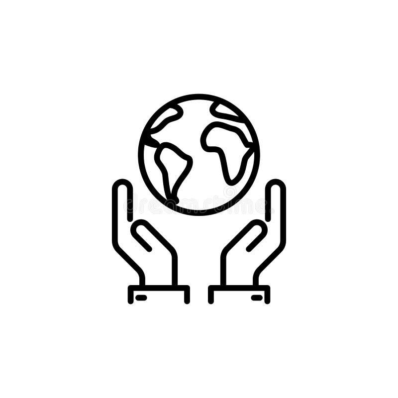 Cienki linii save świat, ziemia w ręki ikonie ilustracji
