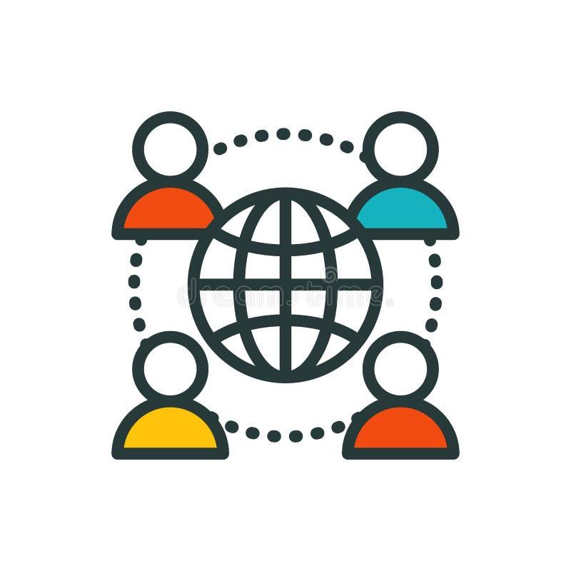 Cienkich linii grupowej ikony konturu dużej dane centrum grupy systemu interneta hasła obłoczny oblicza dostęp podłączeniowi ludz ilustracja wektor