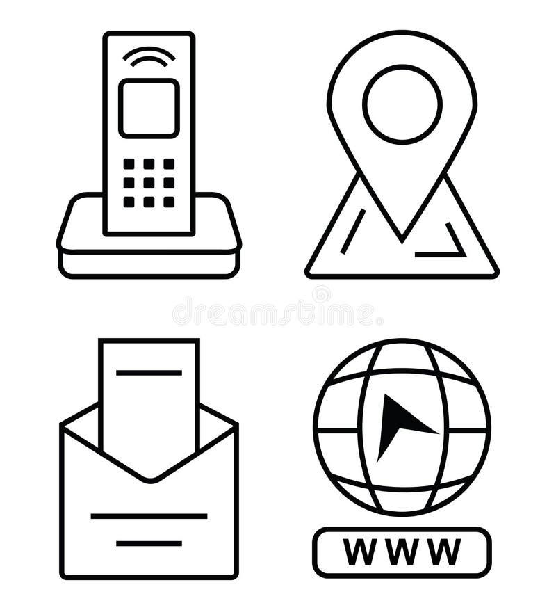 Cienkie ikony dla wizytówki Biurowy telefon, markier na mapie, email, stuknięcie iść strona internetowa royalty ilustracja