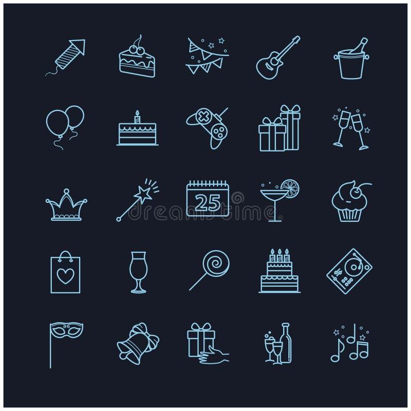 Cienkie kreskowe sieci ikony - przyjęcie, urodziny, wakacje royalty ilustracja