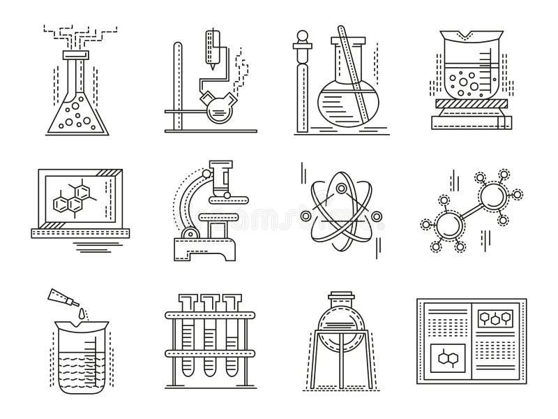 Cienkie kreskowego stylu chemii ikony royalty ilustracja
