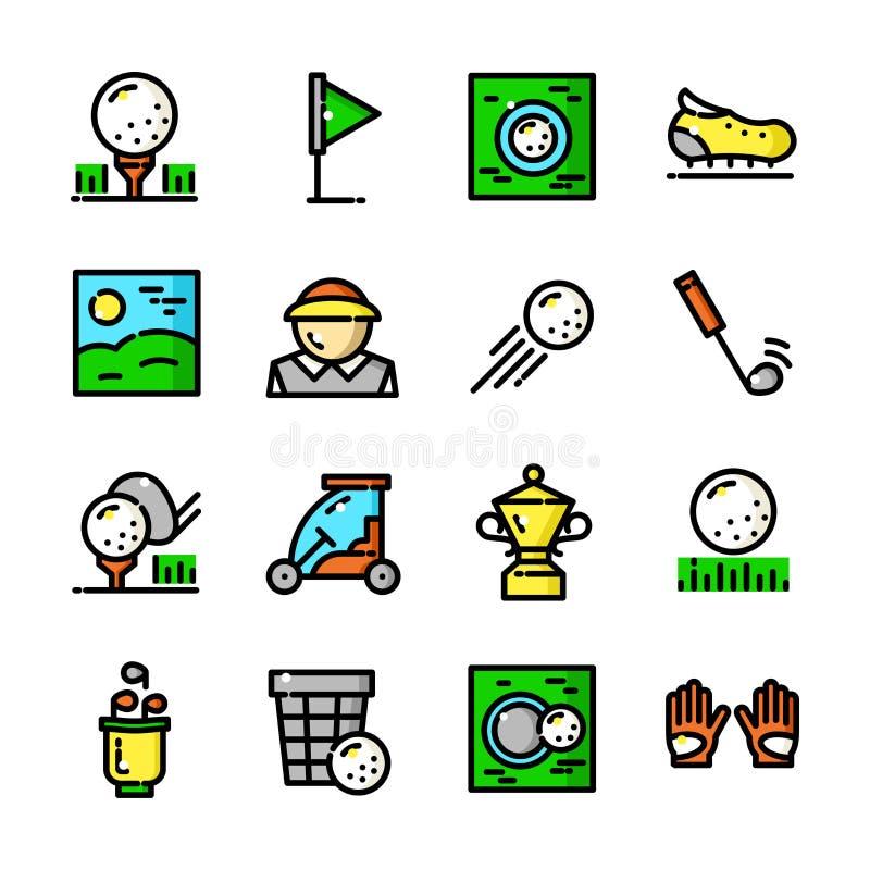 Cienkie linia golfa ikony ustawiają, wektorowa ilustracja ilustracji