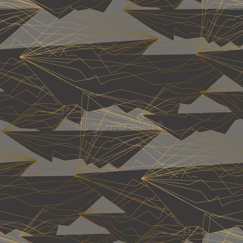 Cienkie złote linie i kształta bezszwowy wzór ilustracja wektor