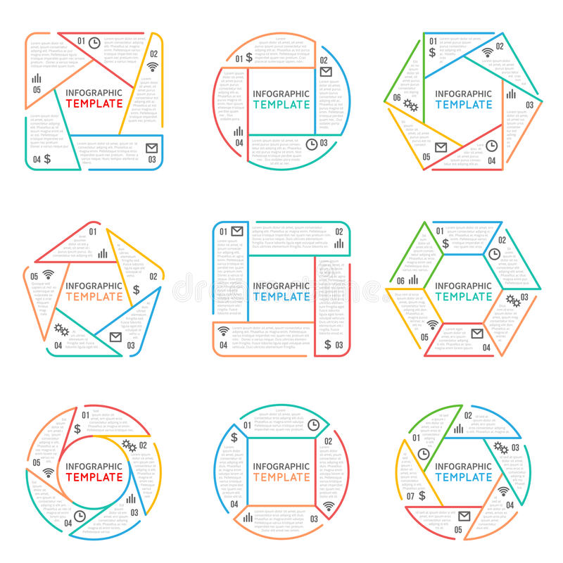 Cienkiego kreskowego infographics wektorowi elementy dla biznesowej prezentaci z opcj częściami kroczą i procesy royalty ilustracja