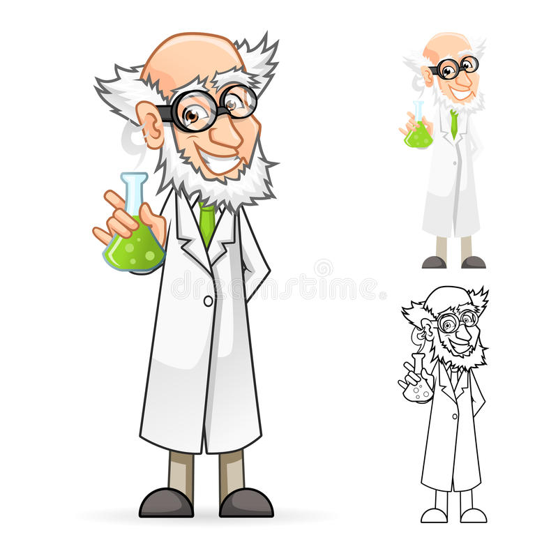 Científico Cartoon Character Holding un cubilete que siente grande stock de ilustración