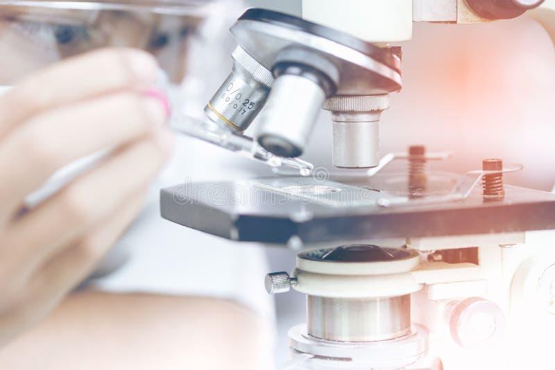 Científico con el equipo y experimentos de la ciencia, cristalería de laboratorio que contiene el líquido químico para el diseño  imagen de archivo libre de regalías