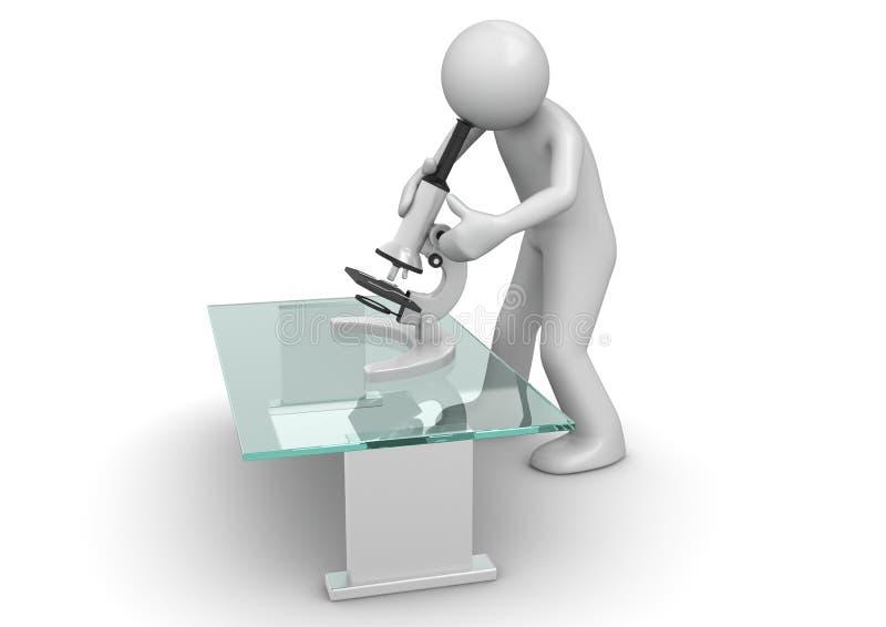 Científico con el microscopio ilustración del vector