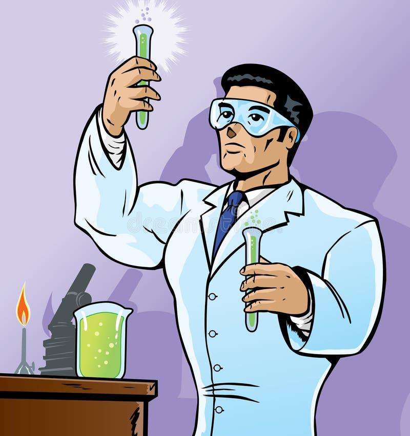 Científico con los frascos stock de ilustración