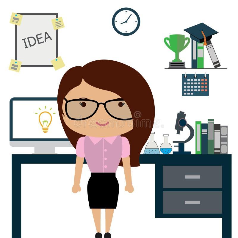 Científico de la mujer u oficinista en oficina, libre illustration