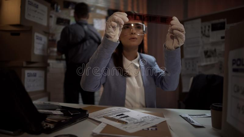 Científico de la policía que mira las fotos criminales de la escena, buscando para las pistas, investigación foto de archivo libre de regalías