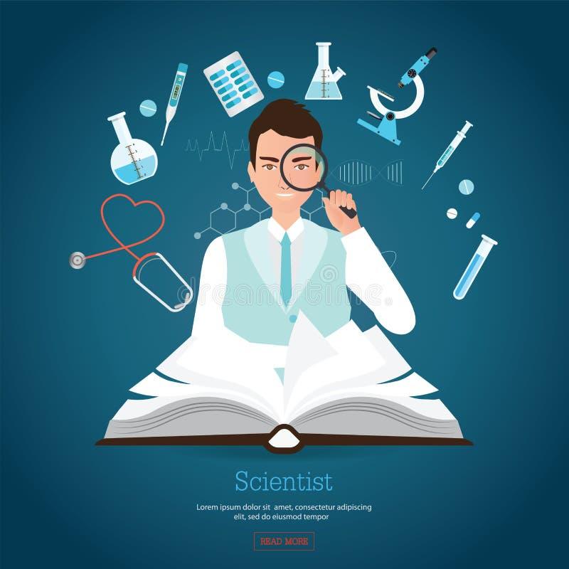 Científico de la profesión que lleva a cabo magnificar con el libro abierto stock de ilustración