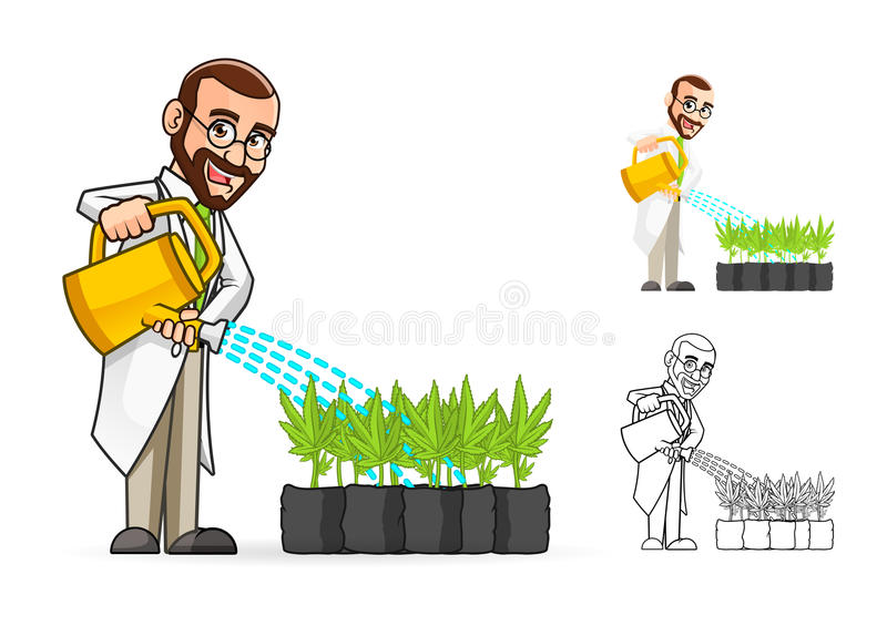 Científico de planta Cartoon Character Watering las plantas libre illustration