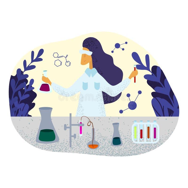 Científico de sexo femenino del químico en la capa del laboratorio que hace la investigación en laboratorio stock de ilustración