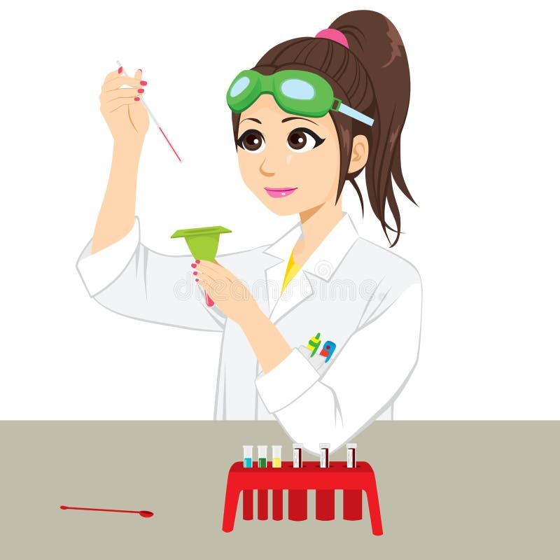 Científico de sexo femenino Experiment ilustración del vector
