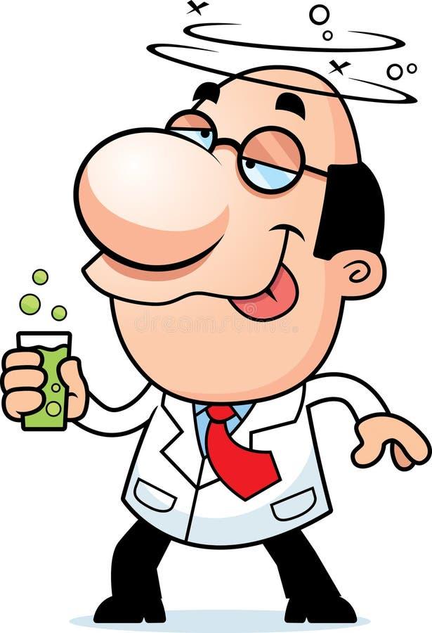 Científico Drinking de la historieta stock de ilustración