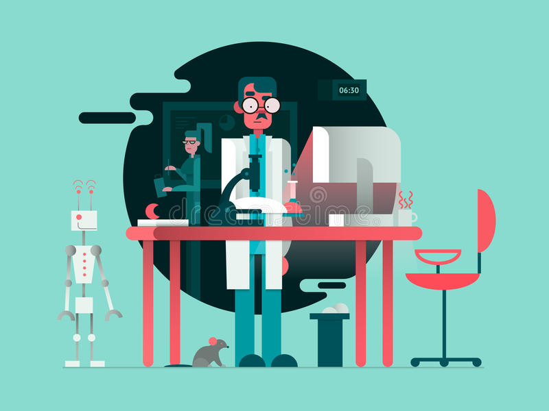 Científico en sitio del laboratorio stock de ilustración