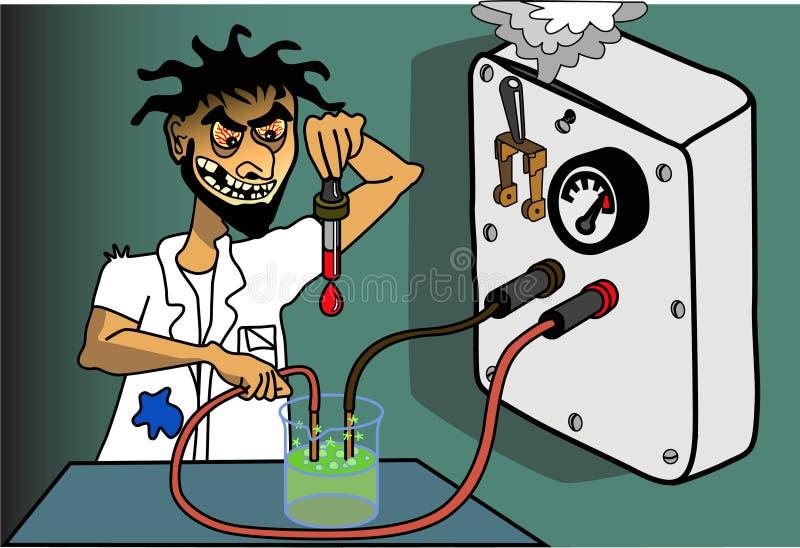Científico enojado ilustración del vector