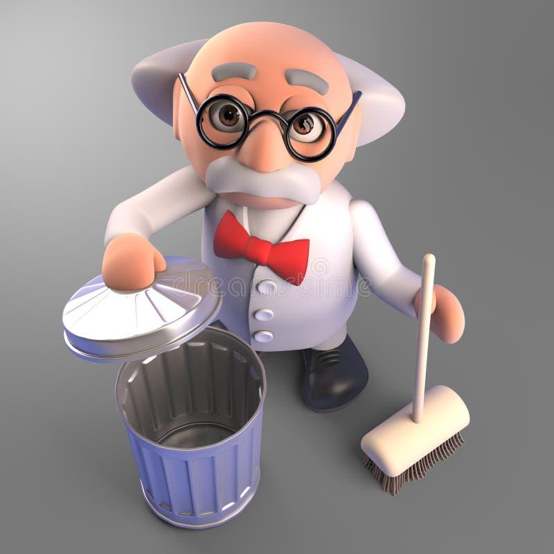 Científico enojado limpio y ordenado con la escoba y el bote de basura, ejemplo 3d stock de ilustración