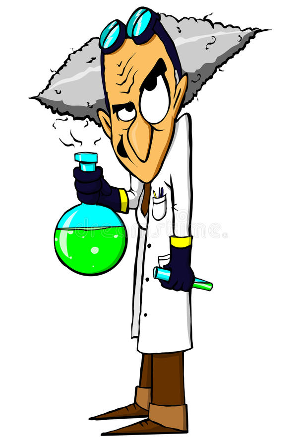 Científico enojado malvado stock de ilustración