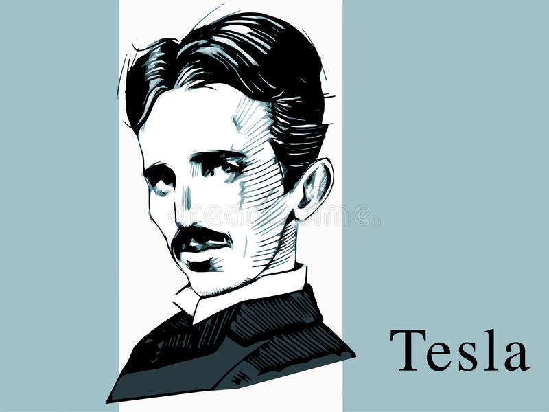 Científico famoso Tesla, retrato del drenaje de la mano stock de ilustración