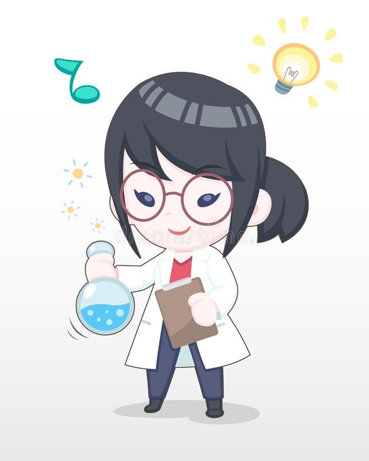 Científico feliz Girl Illustration del estilo lindo stock de ilustración