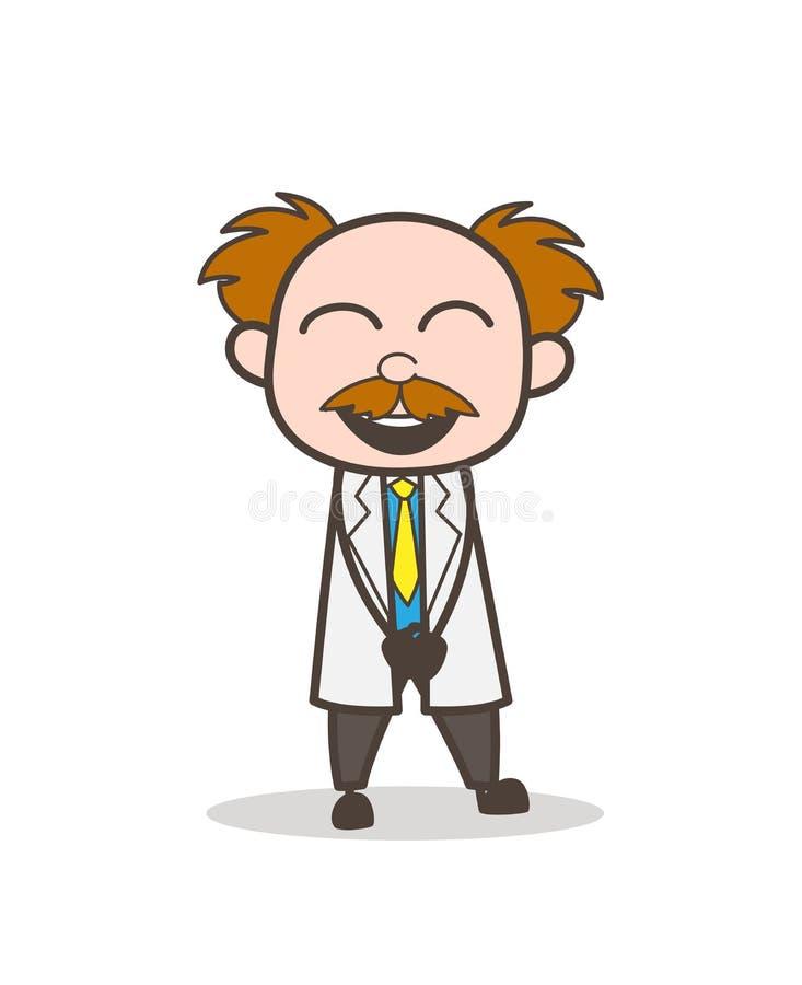 Científico Laughing de la historieta en el ejemplo del vector de la broma ilustración del vector