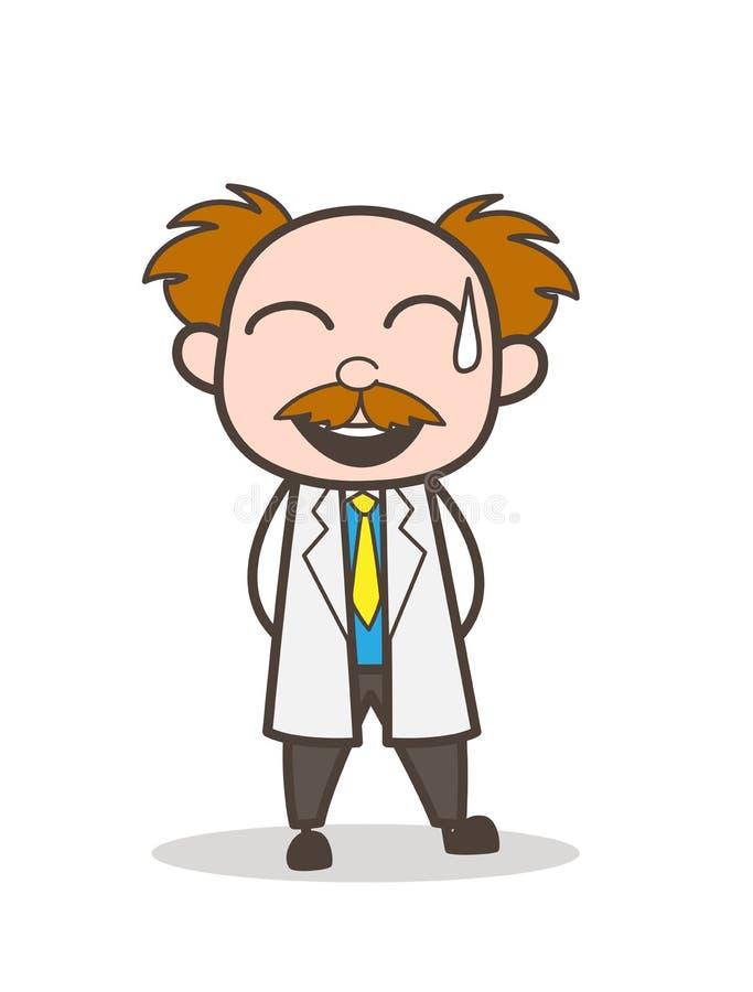 Científico Laughing Face de la historieta con el ejemplo del vector del sudor frío stock de ilustración