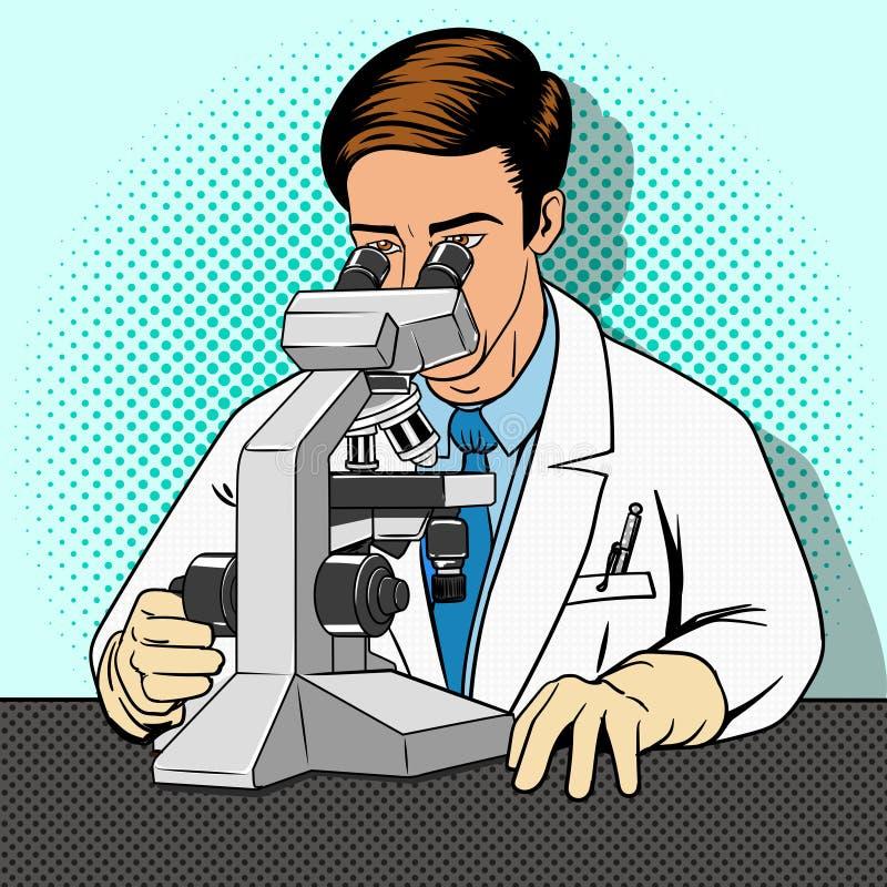 Científico médico con vector del microscopio stock de ilustración